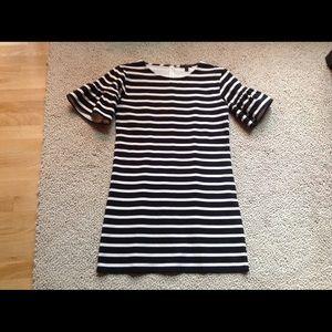 J Crew Ruffled Sleeve Striped Shift Dress